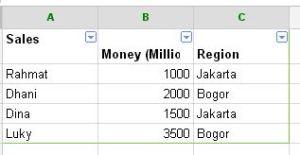 table spreadsheet